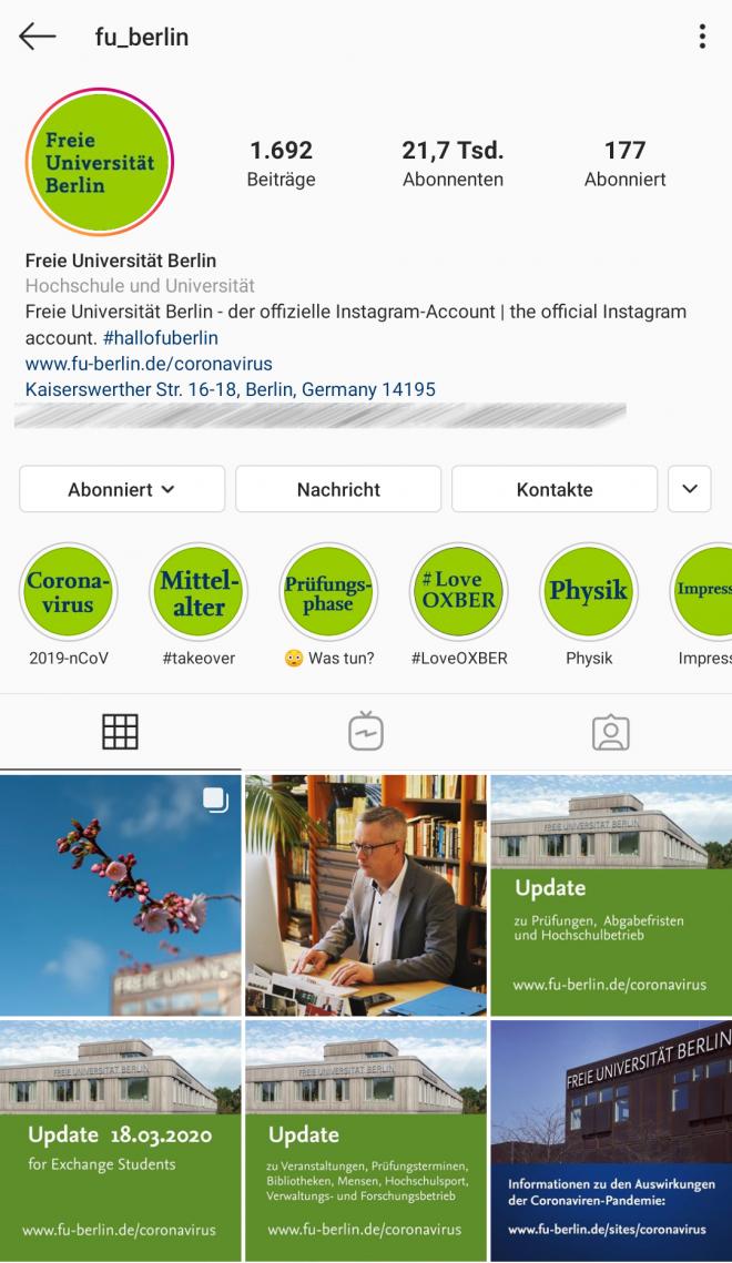 Instagram, @fu_berlin
